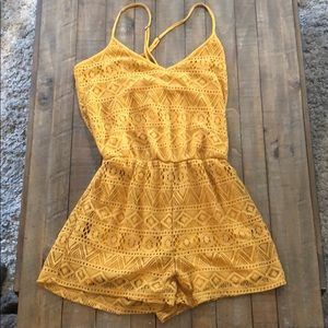 Forever 21 Yellow Romper Small